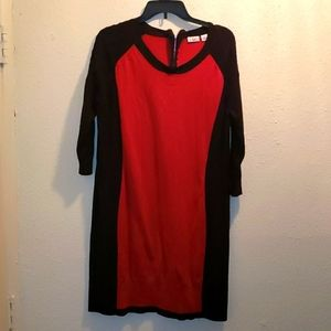 Red and black sweater dress